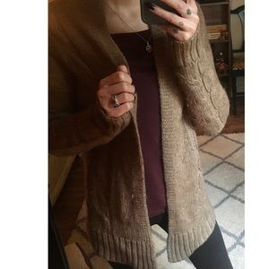Brown cardigan sweater